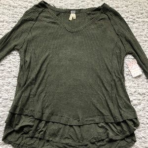 Free People Army Green Thermal Top
